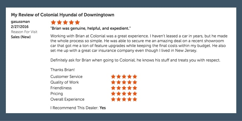 dealerrater 5 star review