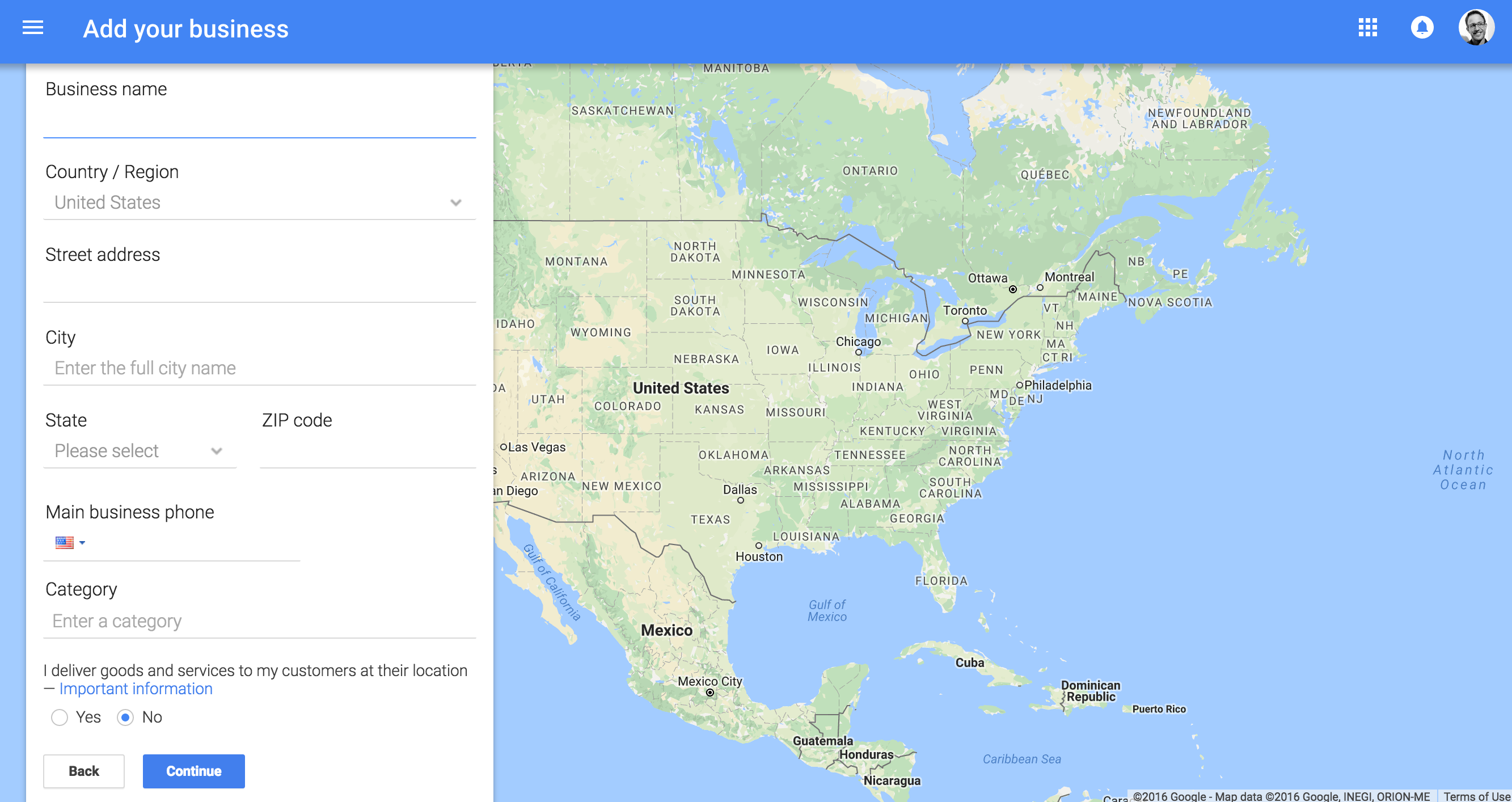 Google My Business Find Location page