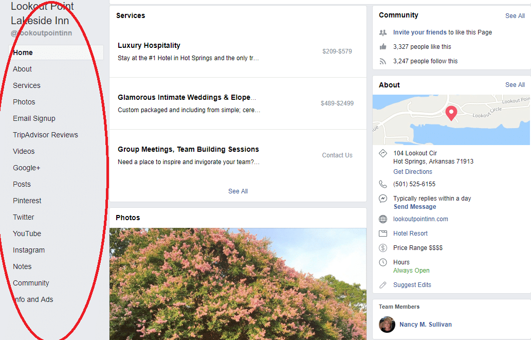 Facebook business page tabs