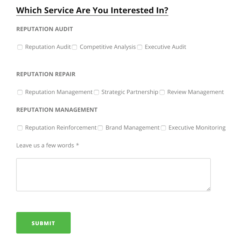 reputation sciences agency contact form example