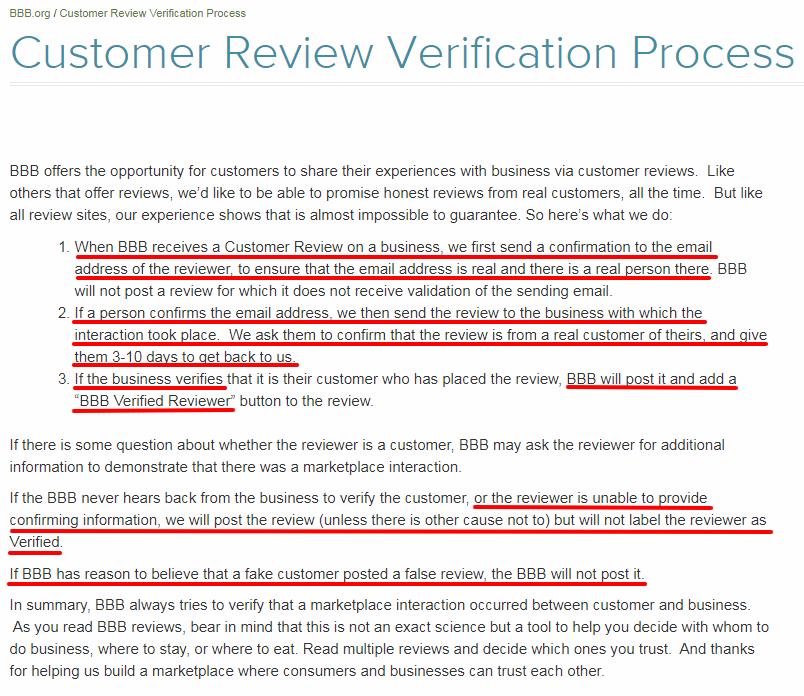 BBB review verification process